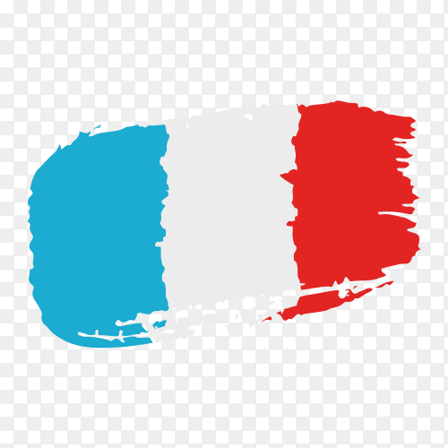 Brush stroke France flag on transparent background PNG