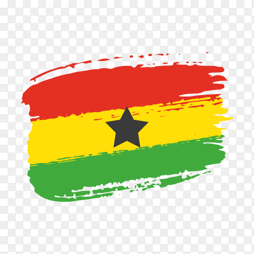 Brush stroke Ghana flag on transparent background PNG