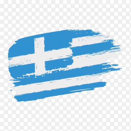Brush stroke Greece flag on transparent background PNG