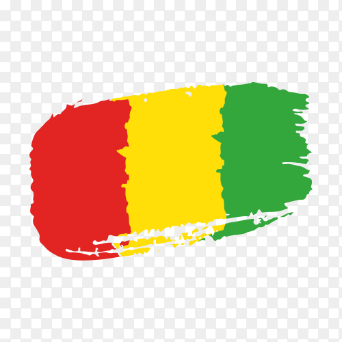 Brush stroke Guinea flag on transparent background PNG