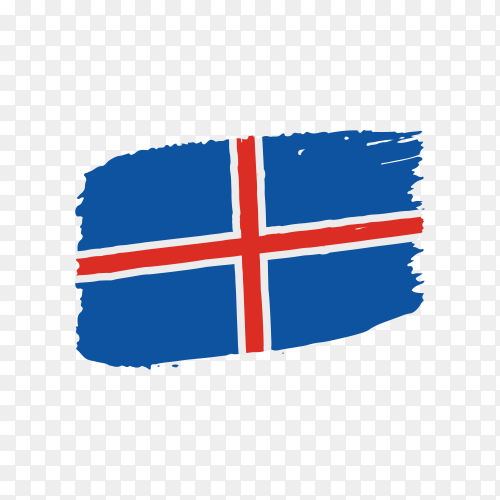Brush stroke Iceland flag on transparent background PNG