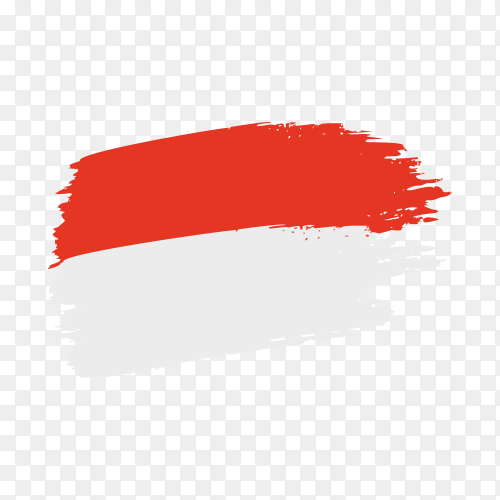 Brush stroke Indonesia flag on transparent background PNG