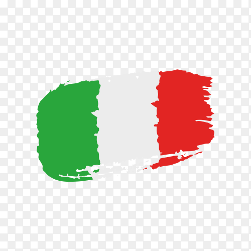 Brush stroke Italy flag on transparent background PNG
