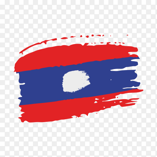 Brush stroke Laos flag on transparent background PNG
