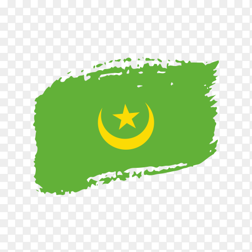 Brush stroke Mauritania flag on transparent background PNG