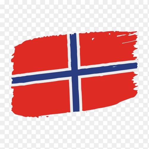 Brush stroke Norway flag on transparent background PNG