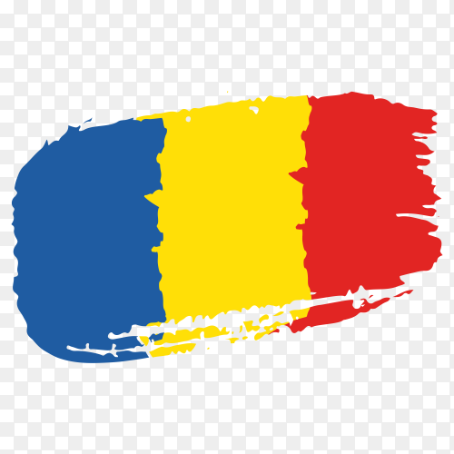 Brush stroke Romania flag on transparent background PNG