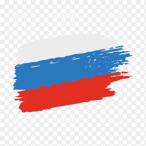 Brush stroke Russia flag on transparent background PNG