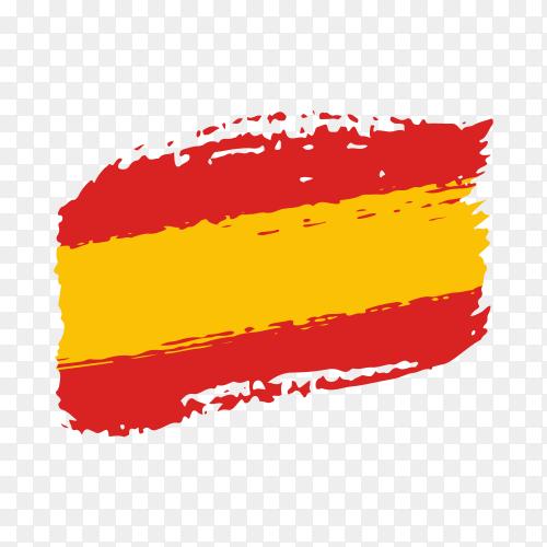 Brush stroke Spanish flag on transparent background PNG
