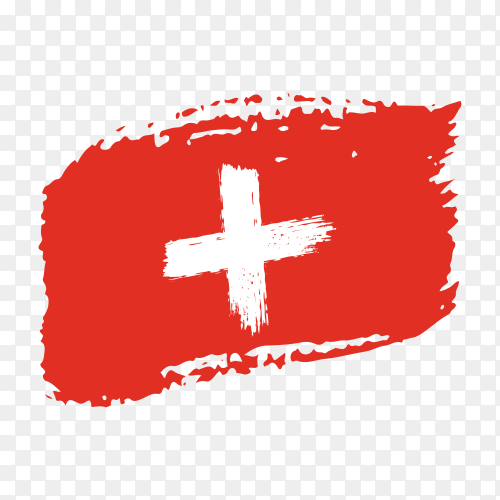 Brush stroke Switzerland flag on transparent background PNG