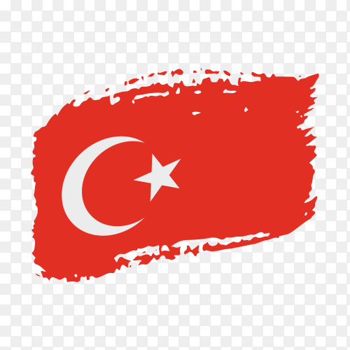 Brush stroke Turkish flag on transparent background PNG