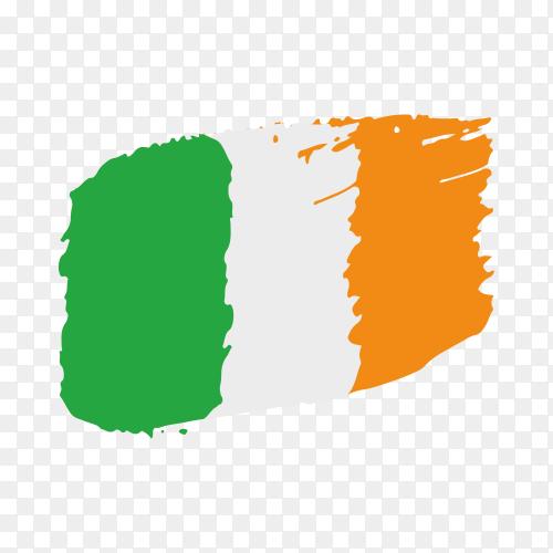 Brush stroke Ireland flag on transparent background PNG