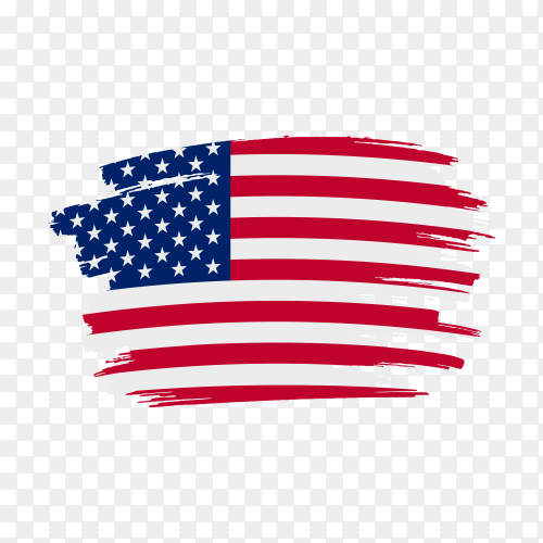 Brush stroke USA flag on transparent background PNG
