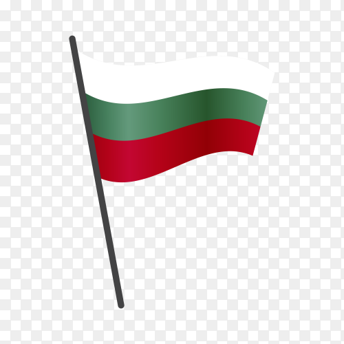 Bulgarian flag waving on a flagpole on transparent background PNG