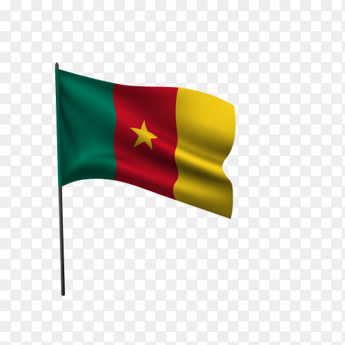 Cameroon flag waving on a flagpole on transparent background PNG