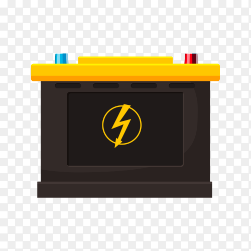 Car battery illustration on transparent background PNG