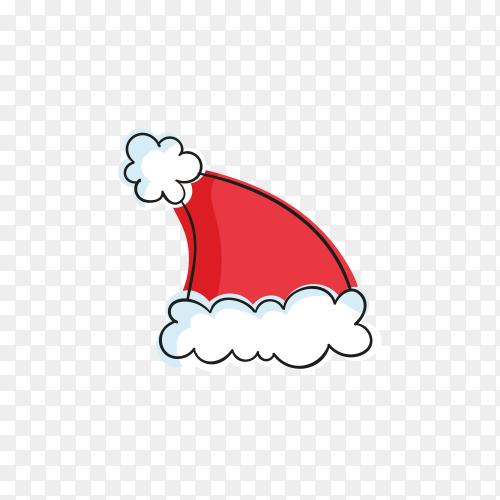 Cartoon Santa Claus hat illustration on transparent background PNG