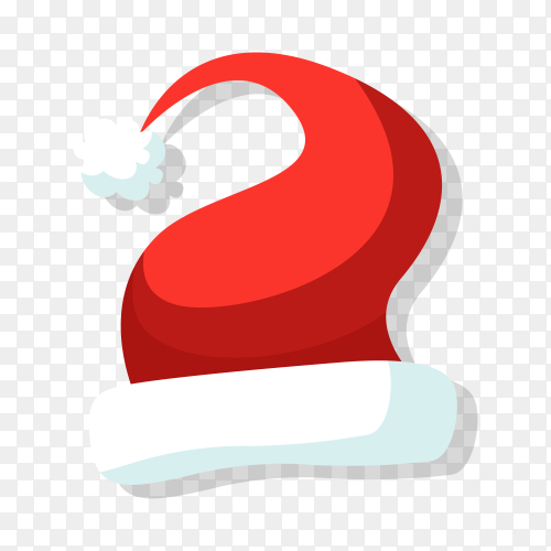 Cartoon Santa hat isolated on transparent background PNG