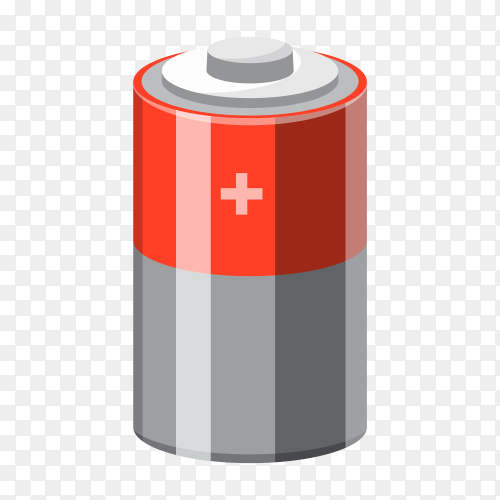 Cartoon battery illustration on transparent background PNG