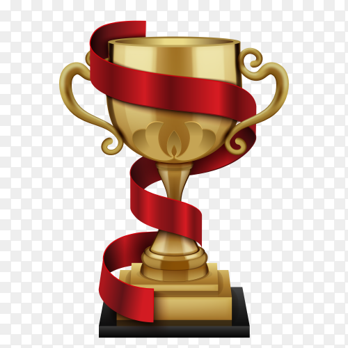 Champion golden trophy cup with red winner ribbon on transparent background PNG