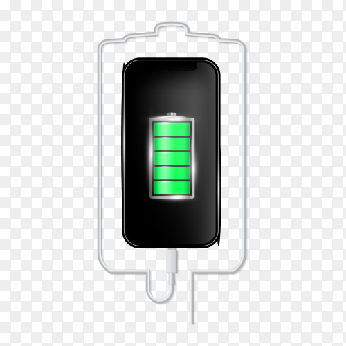 Charged battery phone on transparent background PNG