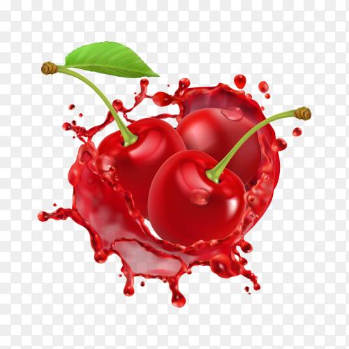 Cherry juice splash on transparent background PNG