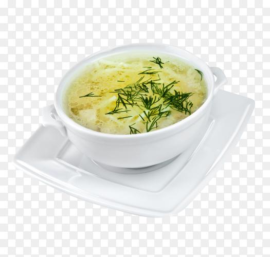 Chicken noodle soup on transparent background PNG
