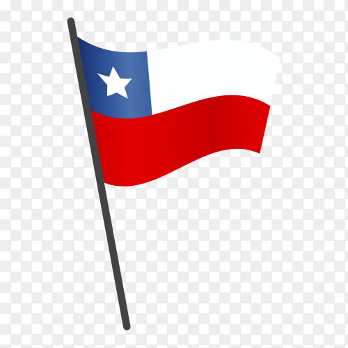 Chile flag waving on a flagpole on transparent background PNG
