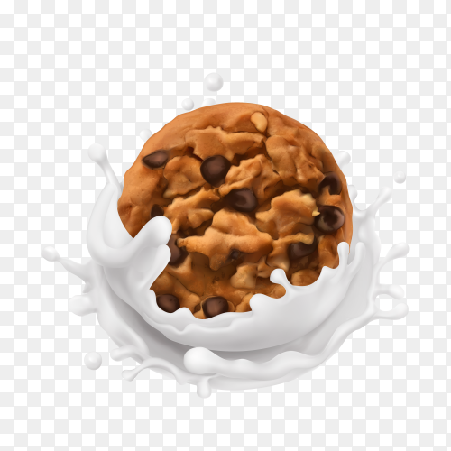 Chocolate chip cookie with a splash of milk on transparent background PNG