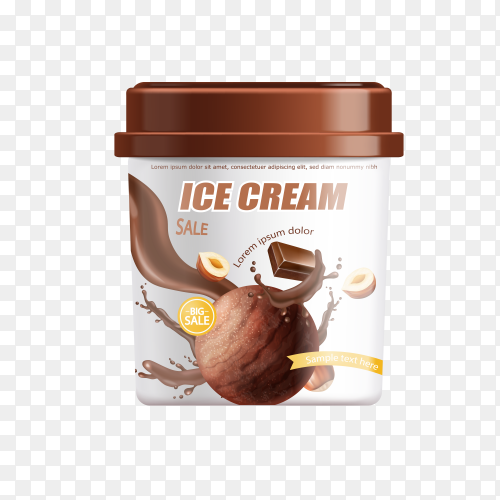 Chocolate ice cream bucket on transparent background PNG
