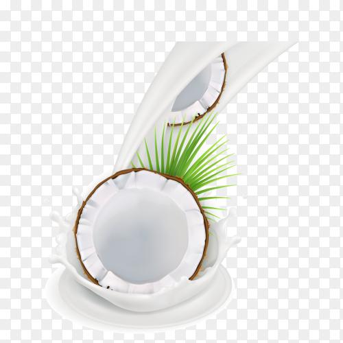 Coconut in milk splash on transparent background PNG