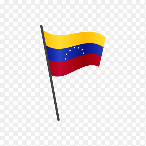 Colombian flag waving on a flagpole on transparent background PNG