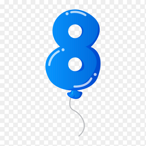 Colorful Balloon in the shape of number Eight on transparent background PNG