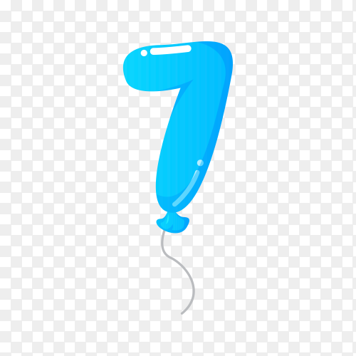 Colorful Balloon in the shape of number Seven on transparent background PNG
