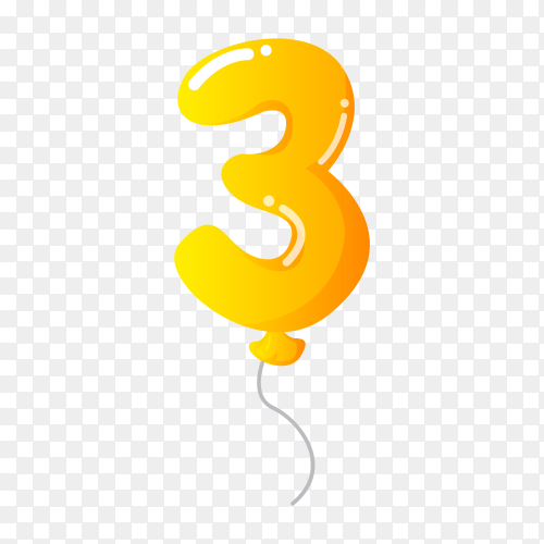 Colorful Balloon in the shape of number Three on transparent background PNG