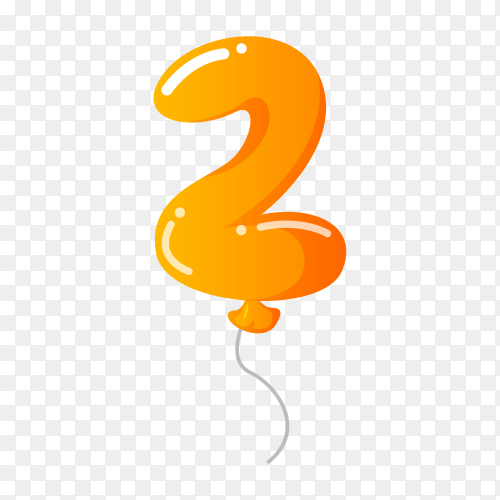 Colorful Balloon in the shape of number Two on transparent background PNG