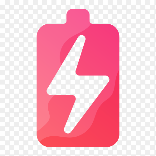 Colorful battery logo template on transparent background PNG