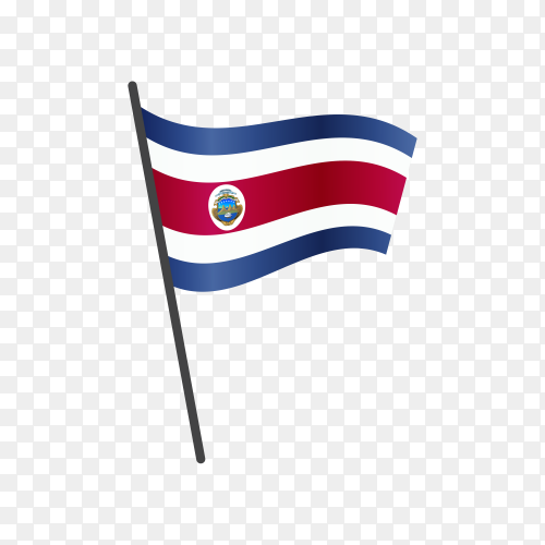 Costa Rica flag waving on a flagpole on transparent background PNG