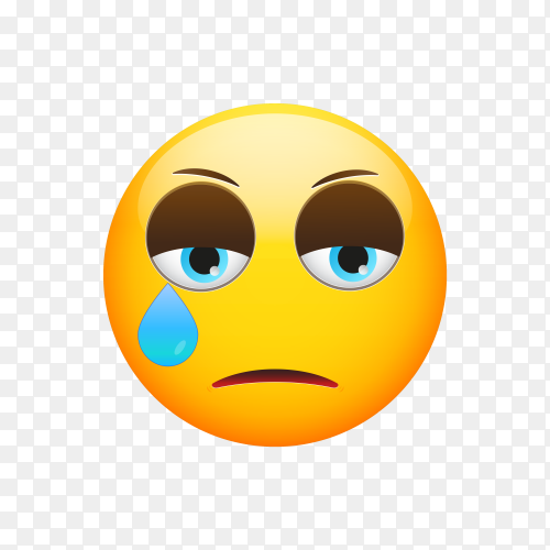 Crying Face Emoji on transparent PNG