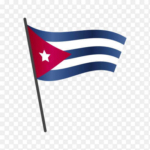 Cuba flag waving on a flagpole on transparent background PNG