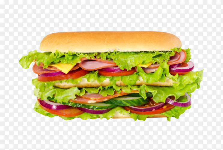 Delicious Sandwich with cheese on transparent background PNG