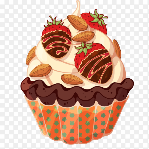 Delicious cupcake with strawberry on transparent background PNG