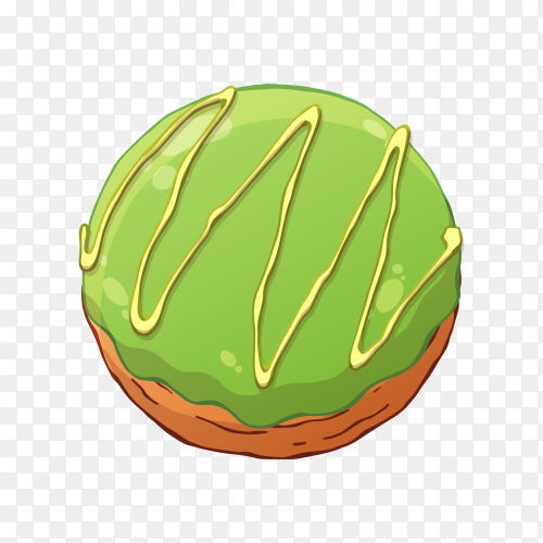 Delicious donut with green topping on transparent background PNG