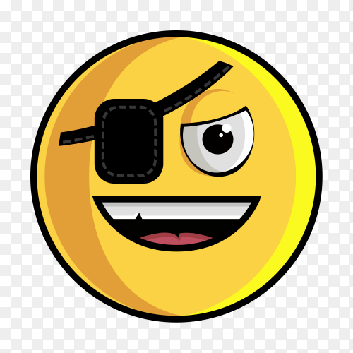 Emoticon Piracy Smiley Pirate Emoji on transparent background PNG