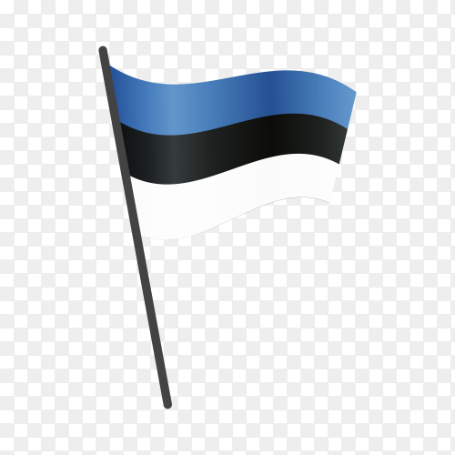 Estonia flag waving on a flagpole on transparent background PNG