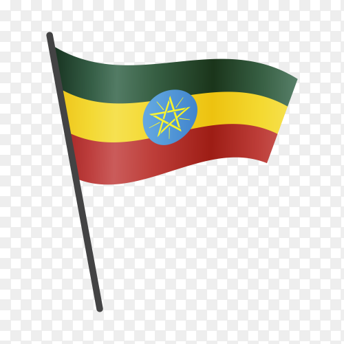 Ethiopia flag waving on a flagpole on transparent background PNG