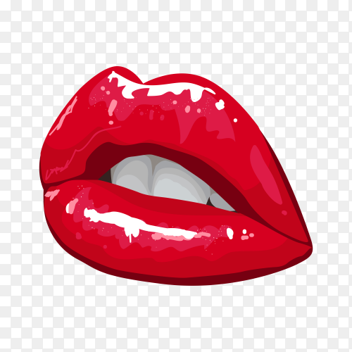 Female Lips with Gloss Red Lipstick premium vector PNG