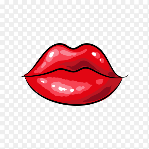 Female lips pop art style isolated icon on transparent background PNG