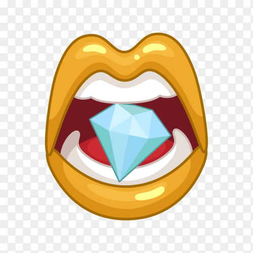 Female lips with diamond on tongue on transparent background PNG