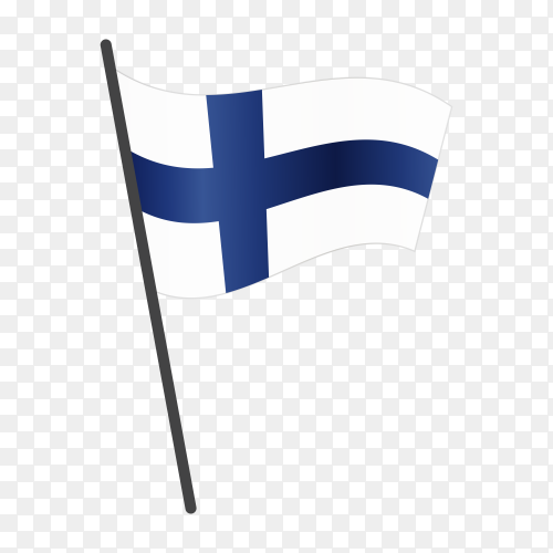 Finland flag waving on a flagpole on transparent background PNG